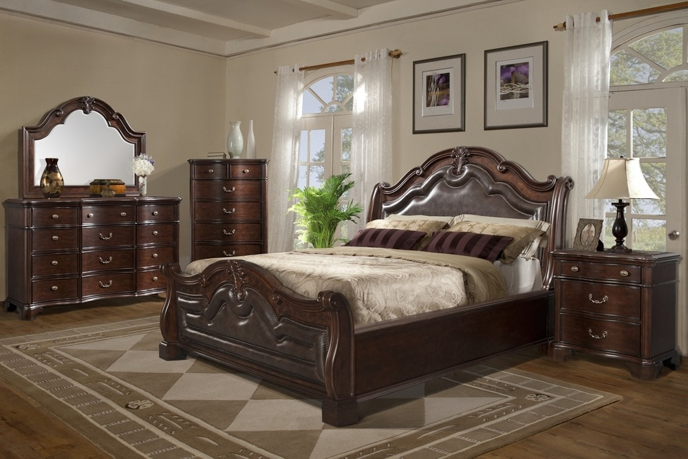 bedroom collection sleigh king size bedroom set 5 pc dark cherry