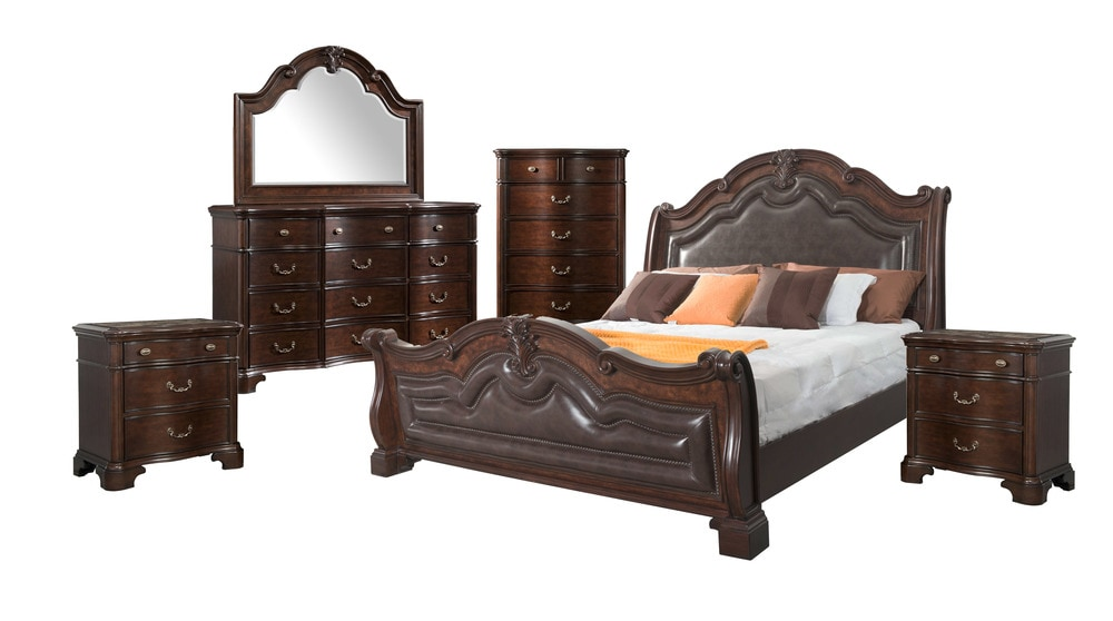 Picket House Furnishings Tomlyn Bedroom Collection Sleigh King Size Bedroom Set 6 Pc Dark