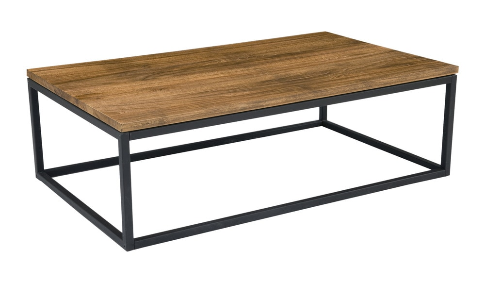 Moe 39 S Home Collection Mountain Teak And Metal Coffee Table