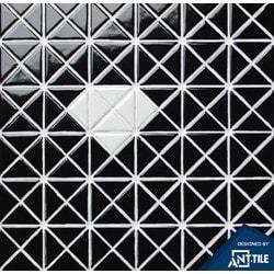 ANT TILE Black Glossy Porcelain Mosaic Tile Model 151395731 Kitchen Wall Tiles