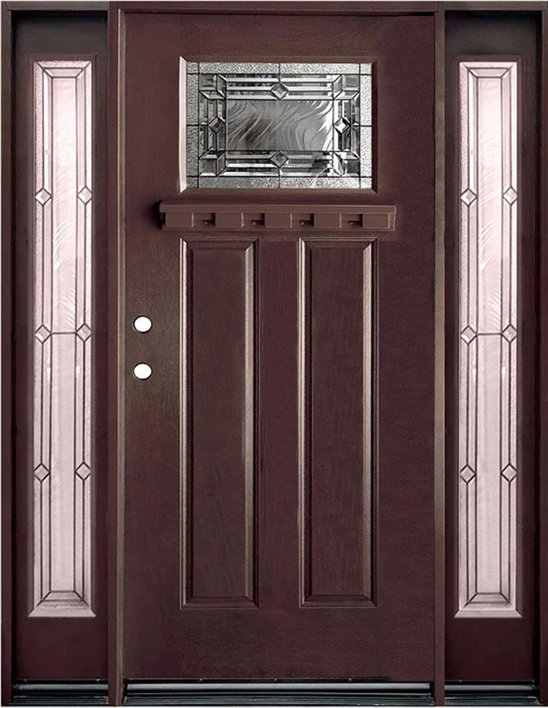Epoch Fiberglass Doors Exterior Doors Pre Finish Fiberglass Entry Unit Dark Walnut Right Hand