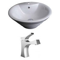 American Imaginations Round Above Counter Ceramic Vessel Sink Set With Glaze Type 151289801 Bathroom Sinks in Canada