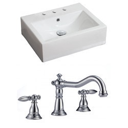 American Imaginations Rectangular Wall Mount Ceramic Bathroom Vessel Set With Glaze IX Type 151288771 Bathroom Sinks in Canada