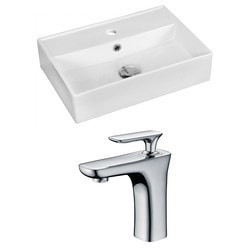 American Imaginations Rectangular Above Counter Ceramic Vessel Set With Enamel Glaze IX Type 151284911 Bathroom Sinks in Canada