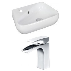 American Imaginations Unique Above Counter Ceramic Vessel Set With Single Hole CUPC Faucet Model 151292391 Bathroom Sinks