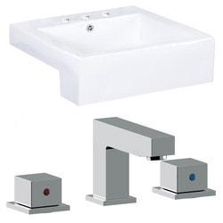 American Imaginations Square Semi Recessed Ceramic Vessel Set With Glaze Model 151291761 Bathroom Sinks