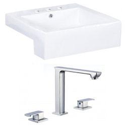 American Imaginations Square Semi Recessed Ceramic Vessel Set With Glaze Type 151291771 Bathroom Sinks in Canada