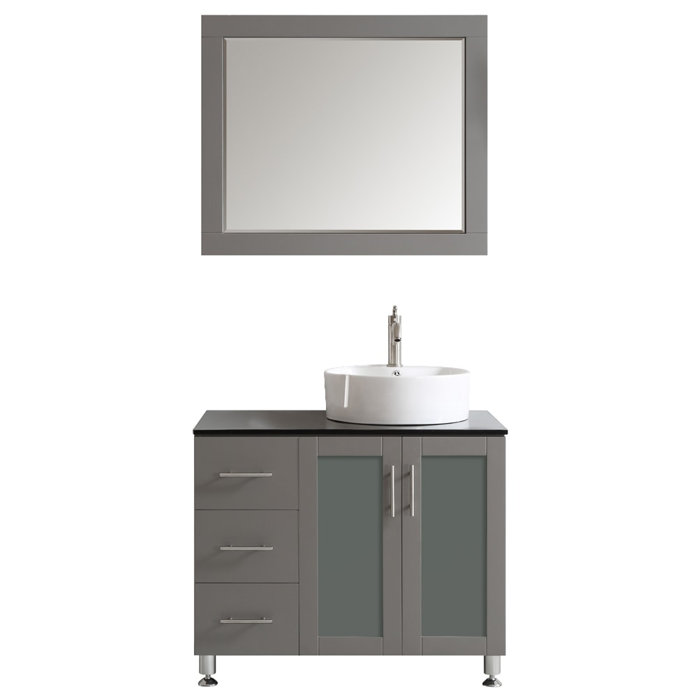 Vinnova vinnova bathroom vanities tuscany collection 36 inches with mirror gray for Tuscan bathroom vanity cabinets