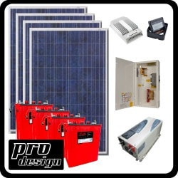 Prodesign Offgrid Kit Tracer 1060W/24V Solar Cabin Kit Model 151358311 Clean Energy Off-Grid Small House Systems