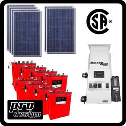 Prodesign Offgrid Kit Magnum (Canadian Certified) 1590 W Model 151358301 Clean Energy Off-Grid Small House Systems