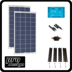 Prodesign 200 Watt 12V PWM Solar Kit Model 151396431 Clean Energy Off-Grid Cabin Systems
