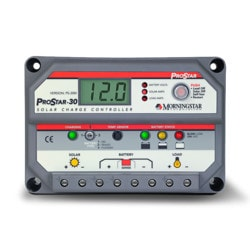 MorningStar ProStar 30A 12V 24V PWM Charge Controller with Meter Model 151396111 Clean Energy System Meters