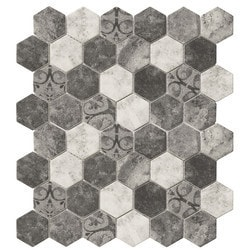 Tiles & Deco HEXAGON GLASS MOSAIC GREY BAROQUE Model 151363091 Kitchen Glass Mosaics