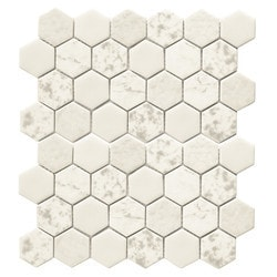 Tiles & Deco HEXAGON GLASS MOSAIC WITH TEXTURE Model 151362031 Kitchen Glass Mosaics