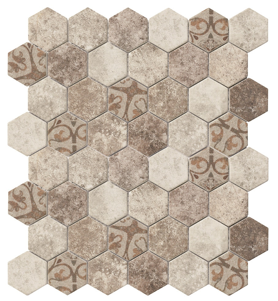 tiles and deco hexagon glass mosaic brown baroque glass mosaic hexagon pattern 12 x 12. Black Bedroom Furniture Sets. Home Design Ideas