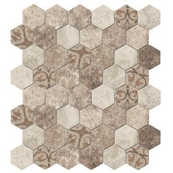 Tiles & Deco HEXAGON GLASS MOSAIC BROWN BAROQUE Model 151363101 Kitchen Glass Mosaics