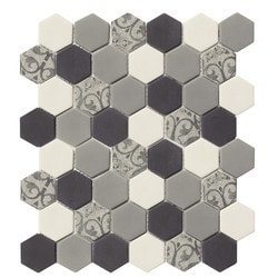 Tiles & Deco HEXAGON GLASS MOSAIC GREY AND WHITE BAROQUE Model 151362051 Kitchen Glass Mosaics