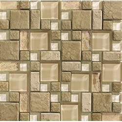 Tiles & Deco GLASS MOSAIC BEIGE FRENCH PATTERN APLES 01 Model 151362021 Kitchen Glass Mosaics
