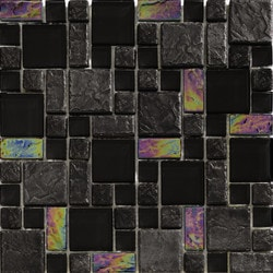 Tiles & Deco GLASS MOSAIC BLACK FRENCH PATTERN ALPES 03 Model 151362011 Kitchen Glass Mosaics