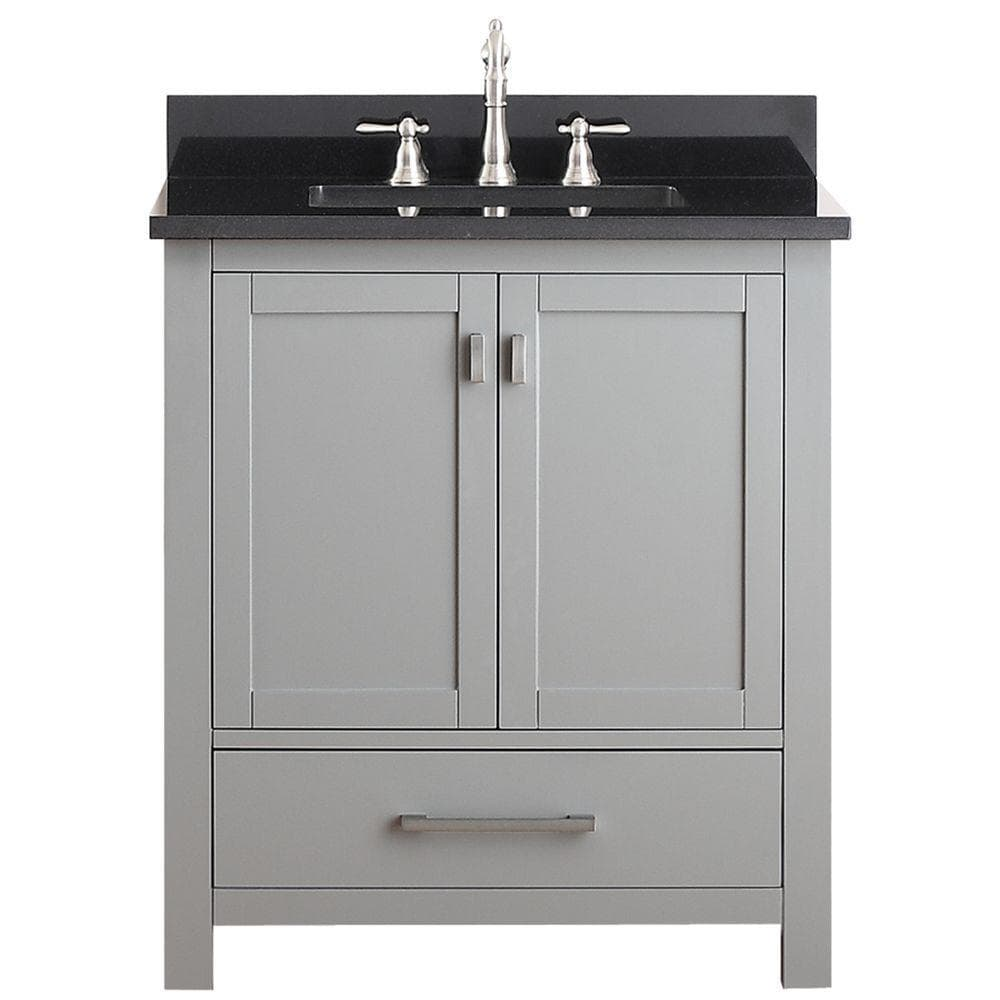 Avanity Modero 30 In Vanity Combo Black Granite Top White Vitreous China Undermount Sink