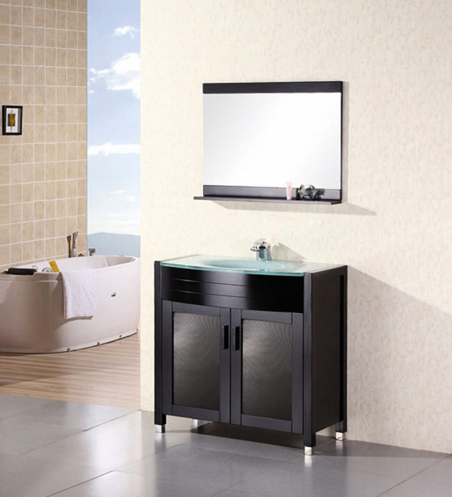 Design element waterfall 36 single sink vanity set for Waterfall set design