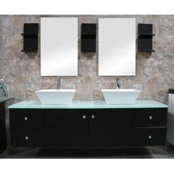 """Design Element Portland 61"""" Double Sink Wall Mount Vanity Set Model 151723081 Bathroom Vanities"""
