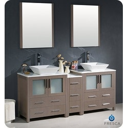 "Fresca Torino 72"" Modern Double Sink Bathroom Vanity with Side Cabinet Model 151631221 Bathroom Vanities"