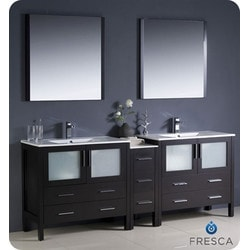 "Fresca Torino 84"" Modern Double Sink Bathroom Vanity with Side Cabinet Model 151631351 Bathroom Vanities"
