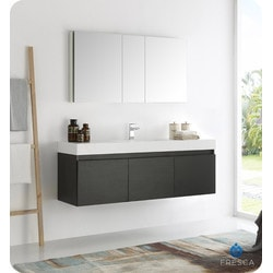 "Fresca Mezzo 60"" Wall Hung Single Sink Modern Bathroom Vanity Type 151698481 Bathroom Vanities in Canada"