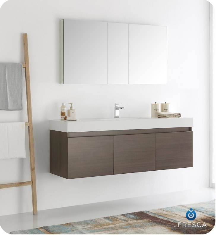 Fresca Mezzo 60 Quot Wall Hung Single Sink Modern Bathroom Vanity With Medicine Cabinet White