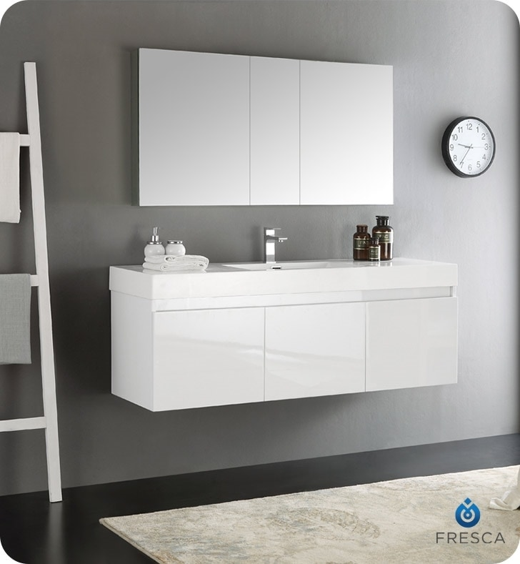 modern bathroom sink and vanity fresca mezzo 60 quot wall hung single sink modern bathroom 23797