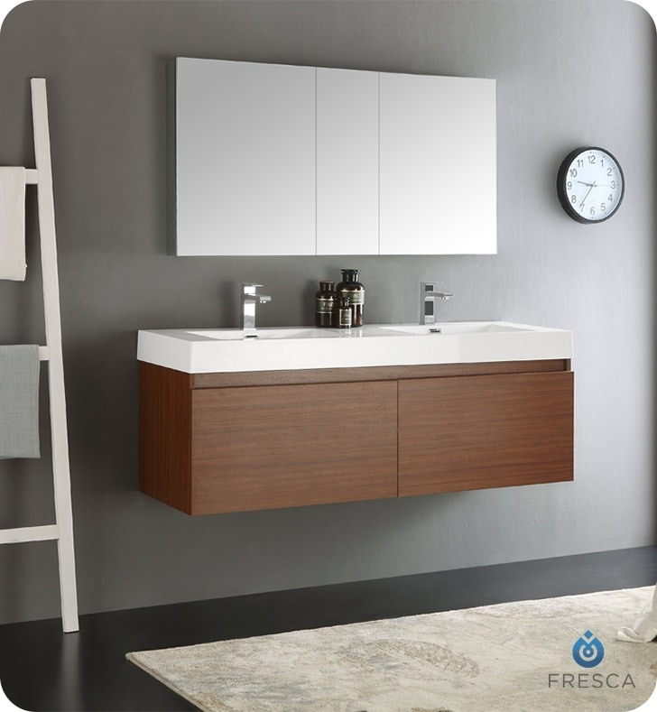 "Fresca Mezzo 60"" Wall Hung Double Sink Modern Bathroom Vanity With Medicine Cabinet / White / Teak"