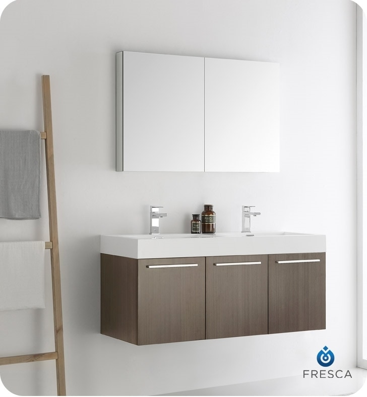 Fresca vista 48 wall hung double sink modern bathroom vanity with medicine cabinet white - Contemporary medicine cabinets in a wall ...