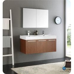 "Fresca Vista 48"" Wall Hung Double Sink Modern Bathroom Vanity Model 151698701 Bathroom Vanities"