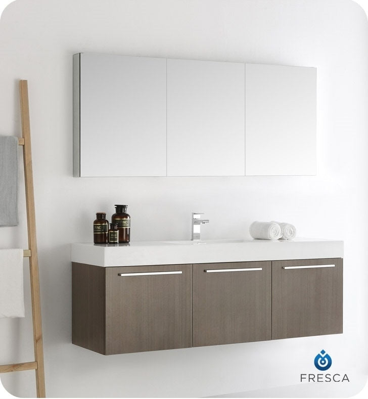 vanity wall cabinets for bathrooms fresca vista 60 quot wall hung single sink modern bathroom 27924