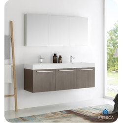 "Fresca Vista 60"" Wall Hung Double Sink Modern Bathroom Vanity Model 151698761 Bathroom Vanities"