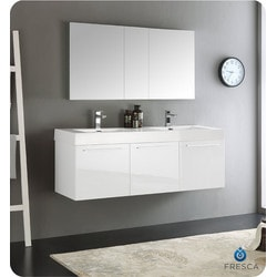 "Fresca Vista 60"" Wall Hung Double Sink Modern Bathroom Vanity Type 151698821 Bathroom Vanities in Canada"