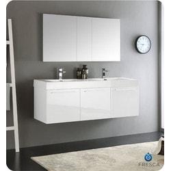 "Fresca Vista 60"" Wall Hung Double Sink Modern Bathroom Vanity Type 151698821 Bathroom Vanities in Canada"