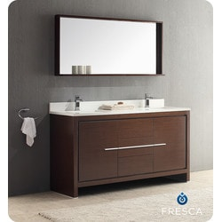 "Fresca Allier 60"" Modern Double Sink Bathroom Vanity with Mirror Model 151632081 Bathroom Vanities"