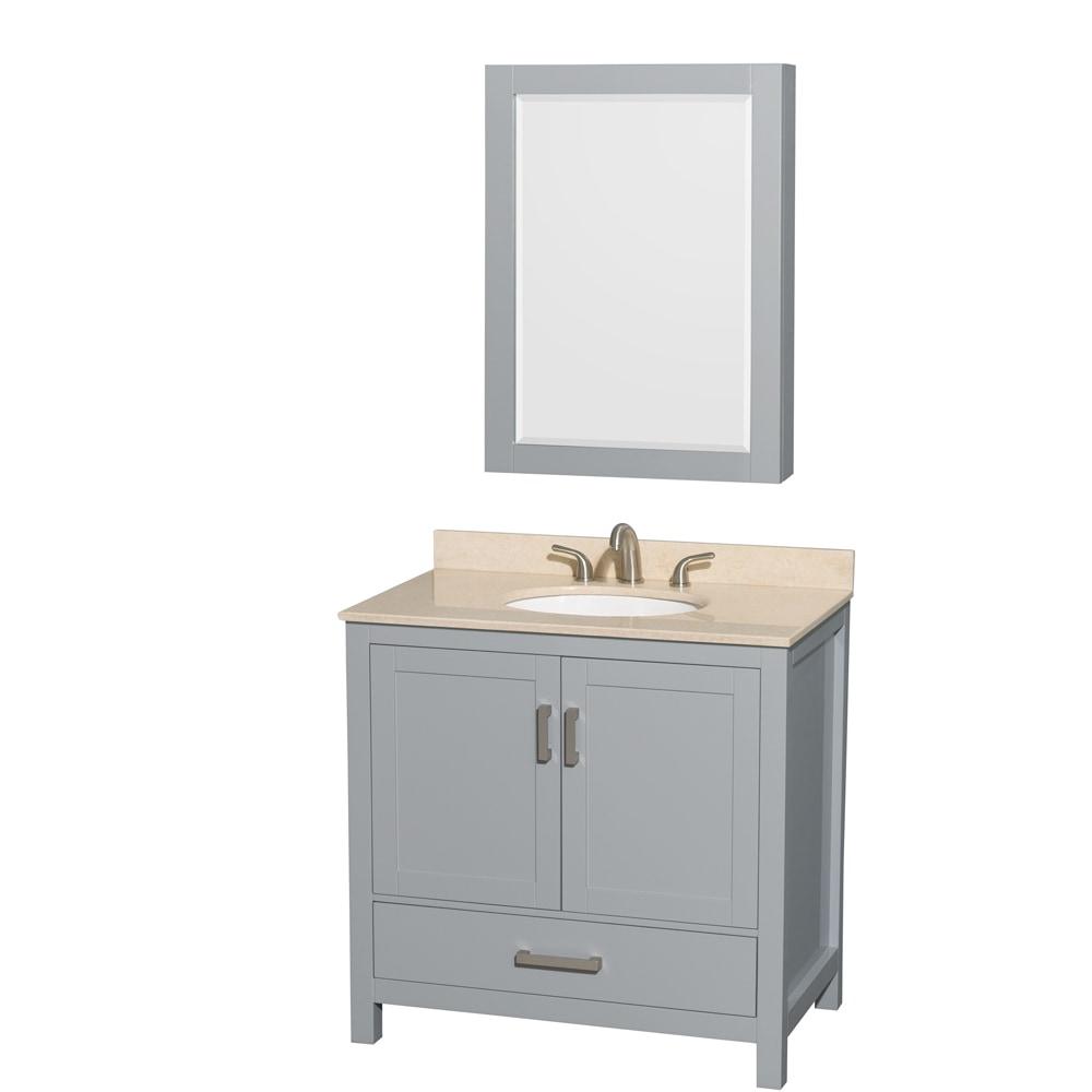 Wyndham Collection Sheffield 36 Single Bathroom Vanity Set With Medicine Cabinet Oval Sink