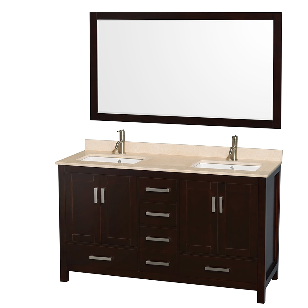 Wyndham collection sheffield 60 double bathroom vanity for A c bathrooms sheffield