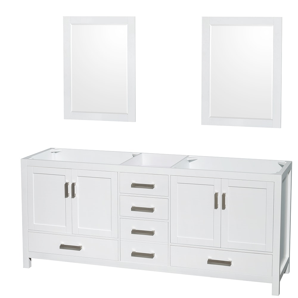 Wyndham Collection Sheffield 80 Inch Double Bathroom Vanity With 24 Inch Mirrors Countertop