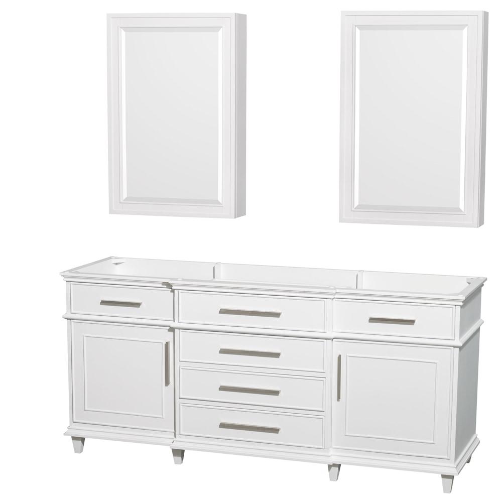 berkeley 72 inch double bathroom vanity with 24 inch medicine cabinets