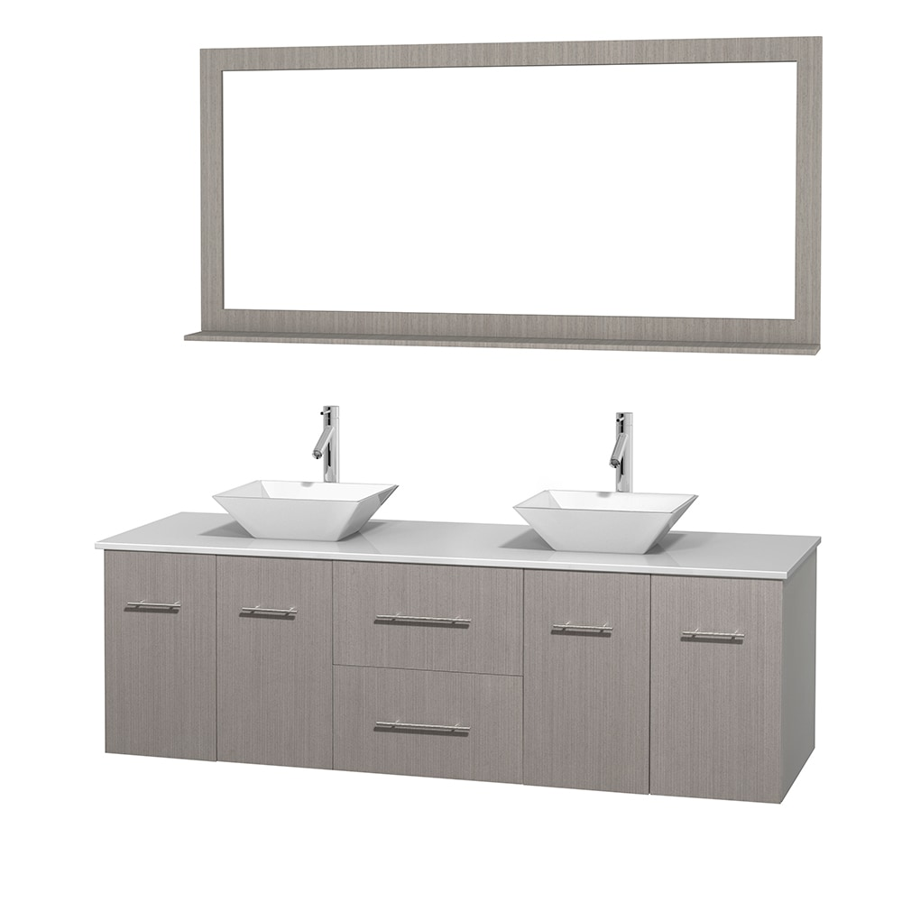 Wyndham Collection Centra 72 Double Bathroom Vanity Set With 70 Mirror Porcelain Sinks