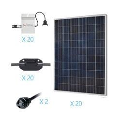 Renogy 5KW Grid Tied Polycrystalline Solar Kit Model 151686281 Clean Energy Off-Grid Cabin Systems
