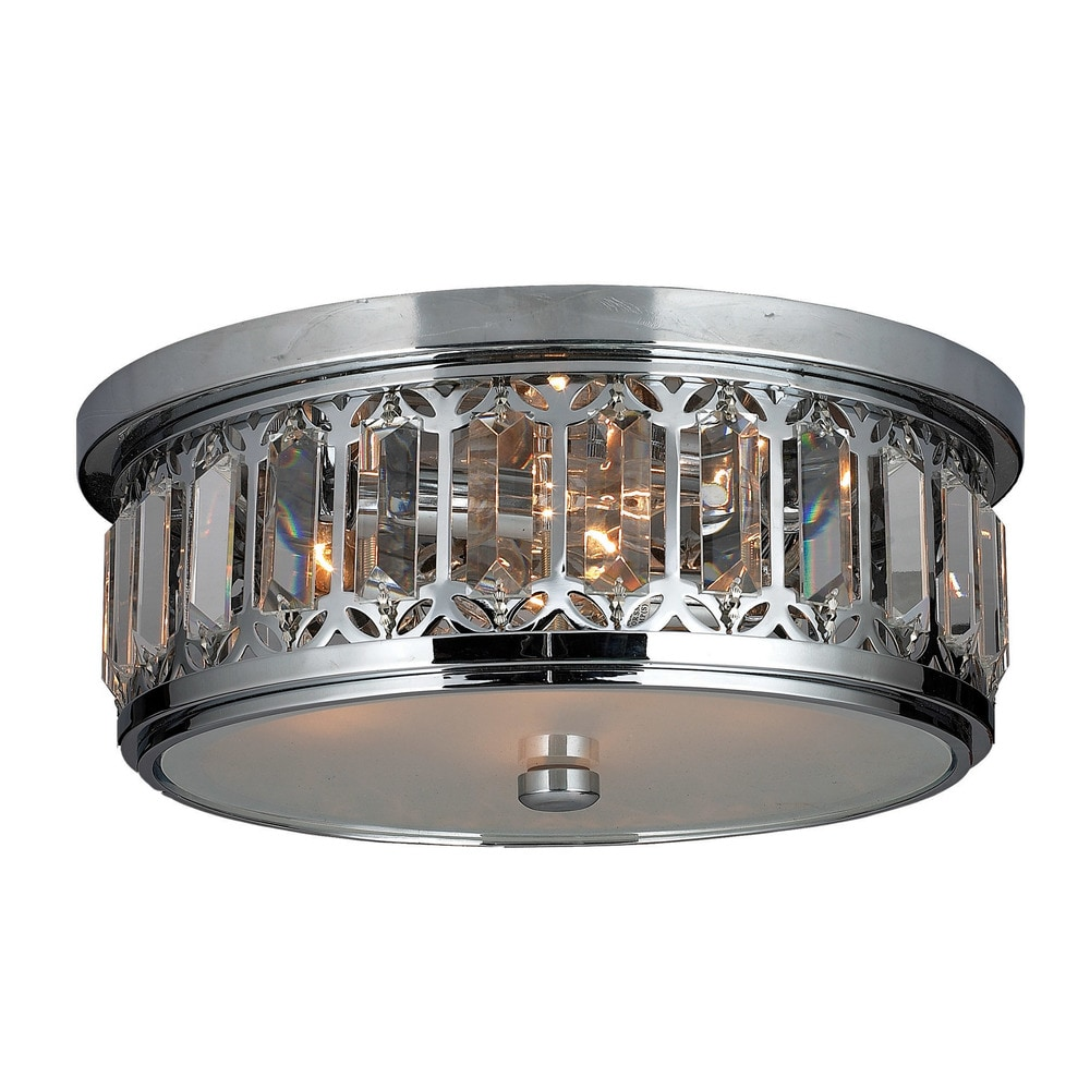 Worldwide lighting corporation flush mount parlour collection polished chrome indoor flush Home decorators collection 4 light chrome flush mount