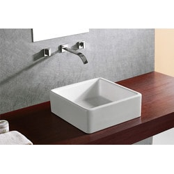 ELANTI 1104 White Rounded Corner Square 15'' Vessel Sink Model 151827861 Bathroom Sinks