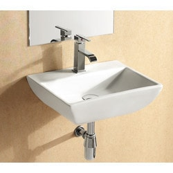 ELANTI 1409 Porcelain Wall Mounted Rectangular Compact Sink Model 151827881 Bathroom Sinks