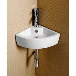 ELANTI EC9808 Porcelain White Wall Mounted Corner Sink Model 151827961 Bathroom Sinks