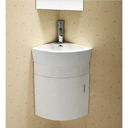 ELANTI EC9808P SV Melamine Wall hung Corner Vanity with Porcelain Corner Sink Model 151828091 Bathroom Sinks
